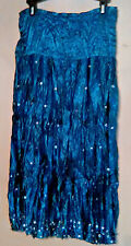 Skirt by Eyeshadow-Teal Green- Crinkle Material Sequins-Dressy Gathered Size 9