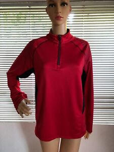 Asics Womens Red Black Lightweight Pullover Jacket 1/4 Zip Long Athletic Large