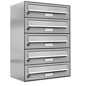 5er Premium Edelstahl Briefkasten Anlage für Außen Wand Design 1x5 Postkasten
