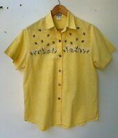 COTTON CONNECTION vintage yellow gingham cotton embroidered bee shirt size M