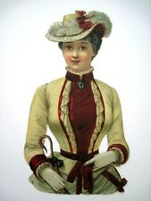 Gorgeous 1900's Die Cut Woman In Stunning Clothes *
