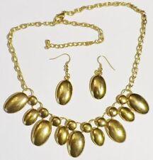parure bijou vintage déco relief collier boucles d'oreilles couleur or * 5034