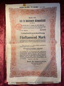 GermanyVintage 5%.Bank fur Industrieverte Aktiengesellschaft Bond 5000 Mark,