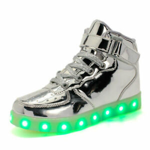 Unisex USB Charge LED Lights Dance Shoes Men Women Lace Up Casual Sneaker Party