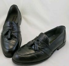Stacy Adams Snake Skin Shoes Tassel Loafers Black Men's 9 M Genuine Reptile