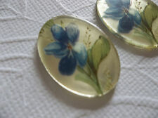 Vintage 25X18mm Glass Cabochons Violet Flowers on Crystal Mirror Cameos - Qty 2