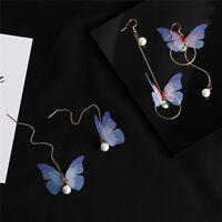 1 Paar Schmetterling Tropfen baumeln Ohrringe lange Ohr Linie Perle Strass O CBL