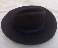 Cordings Men's Purple Fur Felt Wool Trilby Bow Detail Hat Good Used Condition