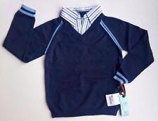 New w. Tag Light Blue Navy Blue Collar Knit Uniform Sweater School Boys Size 5-7