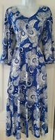 Womens BODEN Blue White Floral Paisley Belted Soft Jersey Fit And Flare Dress 12