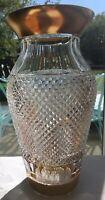 "Vintage Bohemian Diamond Cut Crystal Vase Gilt Rim H 12"""