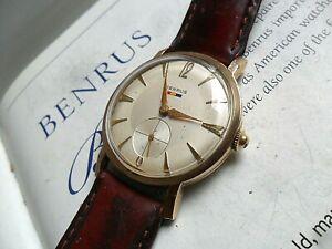 Clean Vintage Men's 1960's Benrus 17 Jewel Swiss Mechanical 10k RGP Watch Runs