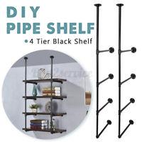 2pcs 4 Tier Wall Shelf Industrial Iron Pipe Floating Shelving Mount Bookshelf-US