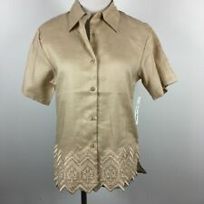 New Jessica Taylor S Small Blouse Beige Short Sleeve Embroidered Hem Linen