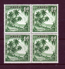 NAURU 1954 DEFINITIVES SG49b 1d deep green BLOCK OF 4 MNH