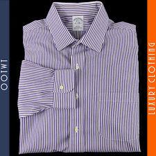 BROOKS BROTHERS 16 - 33 Slim Fit Purple Striped 100% Cotton Non Iron Dress Shirt