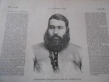 Gravure 1880 - Abdurrhaman Khan nouvel émir de l'Afghanistan