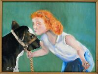 "M.JANE DOYLE SIGNED ORIGINAL ART OIL/CANVAS PAINTING""ISABEL""(PORTRAIT w/CALF)FR"