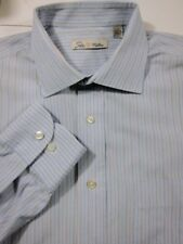 Peter Millar Blue Gold Stripe Dress Shirt 15.5x34 M