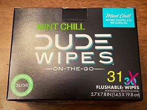 "DUDE WIPES NEW MINT CHILL ""31"" Single Wipes...30 Pack Box + 1 = 31 WIPES  🚽🚨"