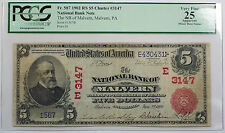 1902 Five Dollar RS $5 National Bank of Malvern Note FR# 587 PCGS VF-25 Details