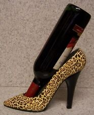Wine Bottle Holder and/or Decorative Sculpture Party Shoe Leopard Skin Heel NEW