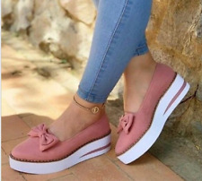Bow Knot Womens Loafers Flats Round Toe Creeper Platform Casual Retro Shoes Size