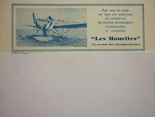 1930-31 PUB LES MOUETTES BATEAU PNEUMATIQUE HYDRAVION SEAPLANE INFLATABLE AD