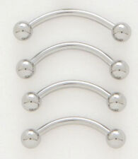 """10 Steel 16g 1/2"""" Eyebrow Rings 3MM Ball Wholesale Lot Curved Barbell Piercing"""