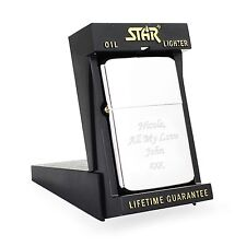 Engraved Silver Lighter with Star Box - Valentines Gift for him