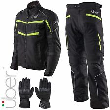 Uber Air Flow Vented Waterproof Motorcycle Jacket Pants Black Gloves Set