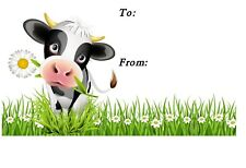 Cow with Daisy Novelty Self Adhesive Gift Labels (42) by Starprint