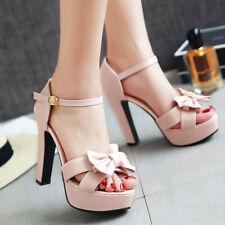 Women Platform Sandals Bow Faux Leather Chunky Heel Open Toe Dress Shoes US 6