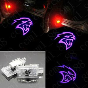 2x Purple Hellcat Logo LED Door Laser Projector Lights For Dodge Charger 2006-19