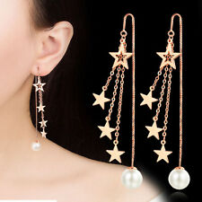 Stars Tassel Threader Rose Gold Plated Pearl Party Cocktail Wedding Earrings