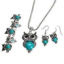 Women Silvery Turquoise Crystal Owl Chain Pendant Necklace Bracelet Earrings Set