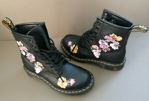 DR MARTENS 1460 VONDA II - BLACK SOFTY BOOTS WITH EMBROIDERED FLOWERS, SIZE UK 3