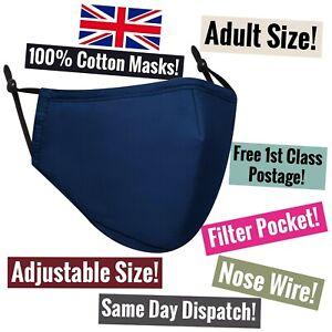 Mens Boys Adult Cotton Face Mask Fabric Filter Plain Simple Dark Navy Blue