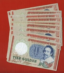 PAYS-BAS, NETHERLANDS : 9 X 10 GULDEN 1953 !!