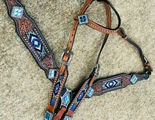 Western Horse Blue Bling! Blue Beaded Leather Tack Set Bridle + Breast Collar