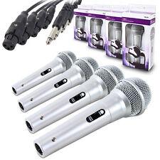 4 X DM11 QTX Micrófono Dinámico Karaoke PA Grabación DJ Mike 3M Cable De Plata