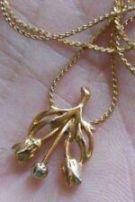 collier pendentif bijou vintage couleur or relief tulipe finement travaillé 4813