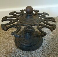 Vintage Scroll Shaped Cast Iron Rotary Storage Stand -Utensil Kitchen Decorative