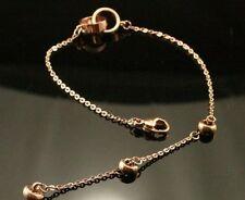 rose gold plated titanium steel double ring bracelet  . L.17+4 cm