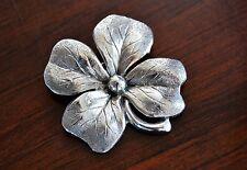 Estate Vintage BEAU STERLING Silver Chased Clover BROOCH