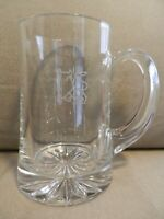 Large Merrill Lynch Bull Etched Heavy Glass Beer Mug, Logo