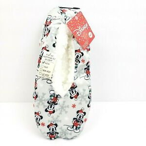 Disney Mickey Mouse Christmas Sz 4-10 Slipper Socks Snuggle Toes Womens Slippers