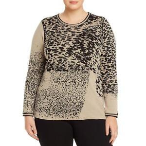 Nic + Zoe Womens Kingdom Tan Animal Print Shirt Sweater Top Plus 3X  7166