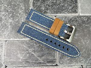 NEW 22mm BIG CANVAS LEATHER STRAP Blue Denim Watch Band White Stitch OMEGA X1