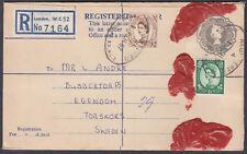 1967 QEII 2s1d uprated Embossed Registered Envelope to Egendon, Sweden